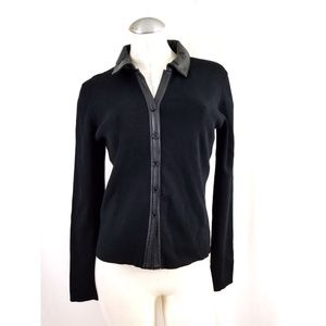 New Frontier Size M Black Knit Top Leather Trim